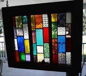 Stained Glass Old Window Frame 18 X 15