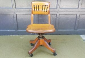Antique Johnson Chair Co Chicago Tiger Oak Swivel Office Desk Doctor S Chair