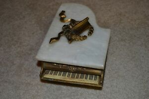 Antique Piano Music Box Brass Marble Wood Working Plays Restoration Free Ship