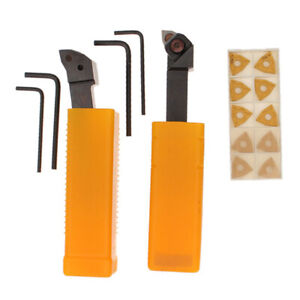 2xcnc Metal Lathe Turning Tools Holder Bit Set With Carbide Inserts Woodwork