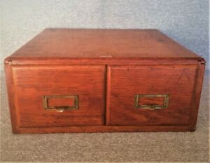 1930 S Weis Oak Wood Library Card Catalog 2 Drawer File Brass Hardware Free Ship