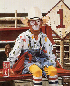 Rodeo Clown Can of Coca Cola wall art poster Limited Edition Signed Print Pickup