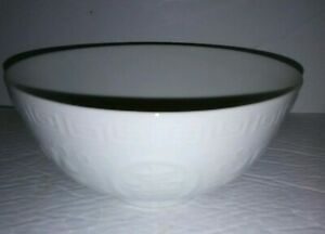 Vintage Chinese Porcelain Celadon Footed Bowl Blanc De Chine Embossed Characters