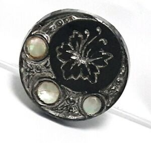 Antique Vintage Glass Mother Of Pearl Button 20v