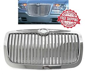For 2005 2010 Chrysler 300 300c Grille Vertical Chrome Rolls Phantom Style Grill