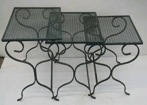 Vintage Wrought Iron Mesh Nesting Tables Salterini Inspired Patio Garden