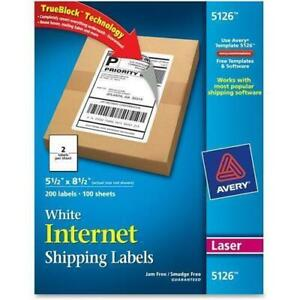 Avery 5126 Shipping Labels 200 Labels 5 1 2 X 8 1 2 Free Shipping