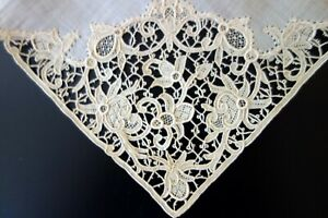 Antique Lace Fine Handkerchief With Needle Lace