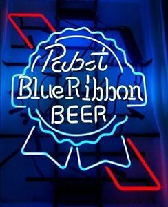 New Pabst Blue Ribbon Neon Light Sign 17 x14 Beer Cave Gift Lamp Bar Glass