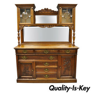 Antique French Victorian Carved Oak Sideboard Buffet Hutch Mirror China Cabinet