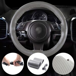 1pc Gray 38cm 15 Car Steering Wheel Cover Leather Needle Thread Universal