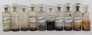 10 Lg Antique Medicine Bottles With Lids Some Labels And Contents Apothecary