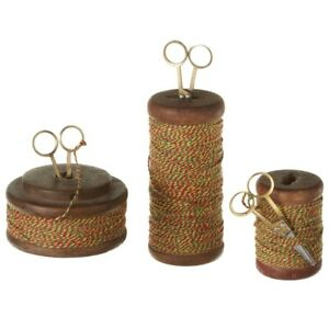 Set 3 Vintage Reclaimed Wood Spools With Colorful Thread Scissors Kitchen Decor