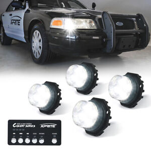 Xprite 4x White Hideaway Led Strobe Lights Emergency Vehicle Head Lights Mount