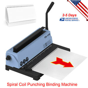 Professional 34 Square Hole Spiral Coil Punching Binding Metal Machine usa Ship