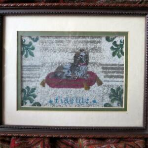 19th Century French Beadwork Picture King Charles Spaniel On Pillow