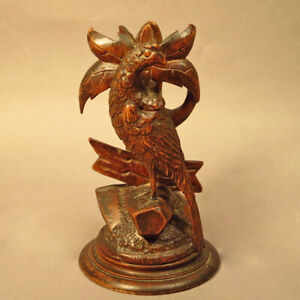 Antique Black Forest Grouse Hand Carved Epergne Stand Candle Holder