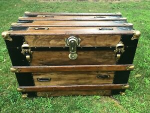 Trunks N Treasures Beautiful Refinished Antique Flat Top Steamer Chest Trunk