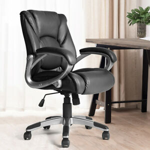 Executive Office Chair Ergonomic Comfortable Chair Leather Adjustable Swivel