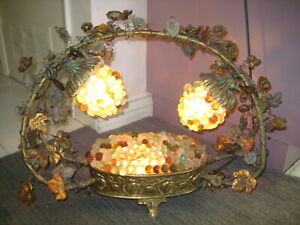 Art Nouveau Lamp With 2 Czech Grape Cluster Shades Gorgeous Grape Basket