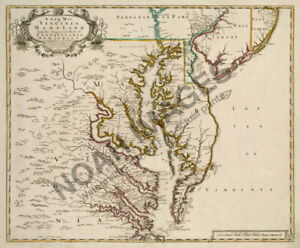 Map Of Virginia And Maryland C1721 24x20