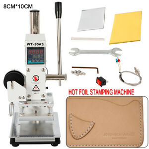 8 10cm Manual Digital Hot Foil Stamping Machine Leather Logo Stamp Bronzing 300w