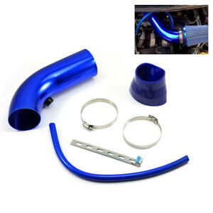 3 Car Cold Air Intake Induction Pipe Filter Tube System Universal Blue Hose Kit