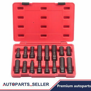 16 pc Locking Lug Nut Master Set Wheel Tire Lock Key Removal Socket Tool Kit Usa