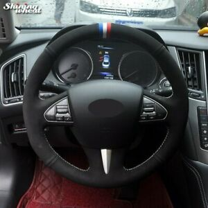Black Suede Blue White Red Marker Car Steering Wheel Cover For Infiniti Q50 Qx50