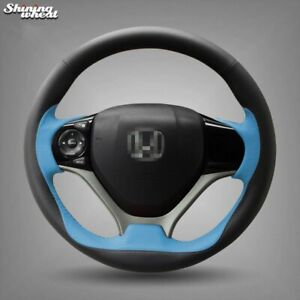 Black Blue Steering Wheel Cover For Honda Civic 2012 2014 Car Special