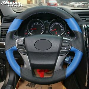 Black Blue Leather Car Steering Wheel Cover For Toyota Reiz Mark X 2009 2015