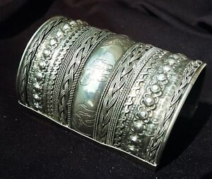 Old Vintage Repousse Ornate Silver Plated Slave Cuff Bracelet Bangle