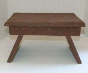 Vtg Primitive Brown Painted Farm Milking Bench Foot Step Stool 12 5 X7 25x7 5 H