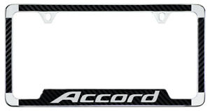 Accord Wordmark Carbon Fiber Inlay Chrome Plate Metal License Plate Frame Holder