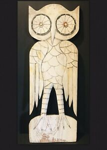 Primitive Vintage Antique Folk Art Hand Made Painted Wood Cut Out Figurine Owl