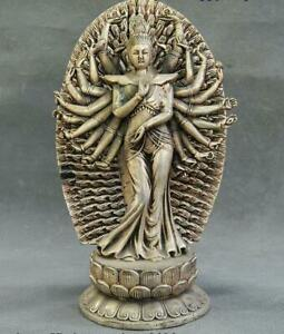 China Tibetan Buddhism Temple Silver 1000 Arms Avalokiteshvara Of Goddess Statue