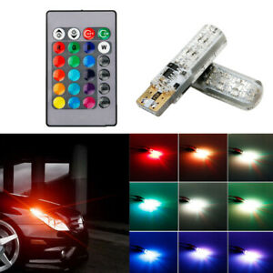 Multi Color Rgb 168 194 T10 2825 Led Bulbs Remote Control For Car Parking Lights