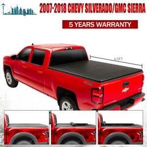 Fit 07 19 Chevy gmc Sierra 1500 2500 6 5ft Vinyl Bed Soft Roll Up Tonneau Cover