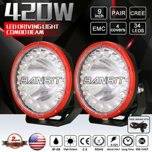 2 New 9inch 420w Cree Led Driving Lights Combo Beam Suv Offroad Work Red Round