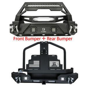 Fit 87 06 Tj Jeep Wrangler Front And Rear Bumper With Oil Drum Rack Bar Winch