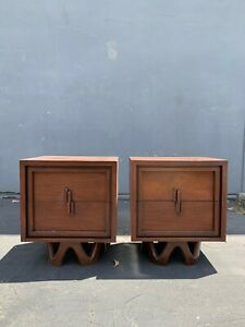 Pair Of Nightstands Mid Century Modern Bedside Tables Accent Table Chest Bedroom