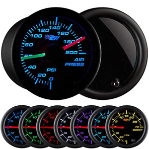 Glowshift Tinted 7 Color 200 Psi Air Pressure Gauge Kit Includes 2 Electronic