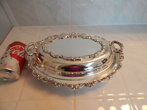 Poole Silverplate Old English Epns Covered Casserole With Lid Dish 10 X 13