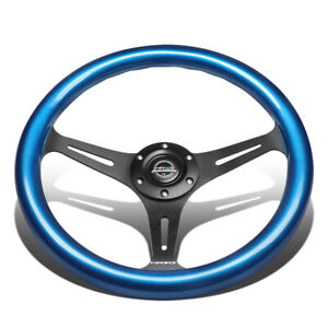 Nrg Innovations St 015bk Bl 35cm 2 Deep Dish Blue Colored Wood Steering Wheel