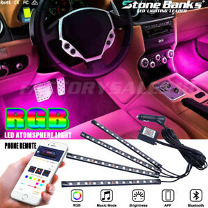 4in1 Led Rgb Car Interior Atmosphere Light Strip Bar Bluetooth App Music Control