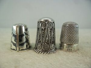 Job Lot Collection Of Solid Silver Thimbles Niello Filigree Beehive