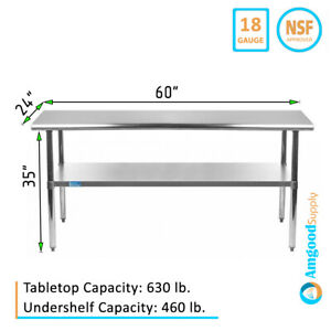 24 X 60 Stainless Steel Work Table With Galvanized Undershelf