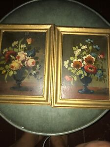 Set 2 Vintage Florentine Art Flower Picture Wood Frames Made In Italy