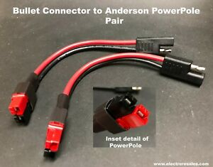 Bullet sae Connectors To Connector Fits Anderson Powerpole 12 Gauge Pair