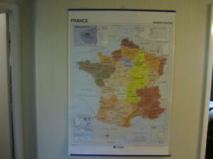 Old School Map France French Language Map Full Size Great Wall Decor Edigol